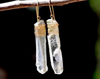 Gold Filled Raw Selenite Earrings Long Crystal Earrings Stone Earrings Transparent Earrings Gold Filled Jewelry Stone Jewelry Free Shipping