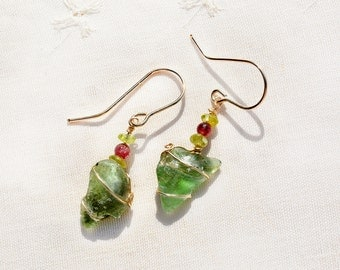 Green Roman Glass Earrings+ Tourmaline& Peridot Beads Roman Glass Jewelry Israeli Jewelry Gold Filled Earrings Made in Israel Free Shipping