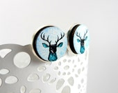 Large Stag Stud Style Earrings, Wooden Jewelry, 6mm, Antique Silver