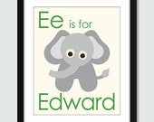 A - B - C - D - E is for Name Wall Art - 8x10 Baby Children Nursery Wall Print Poster with Personalized Name