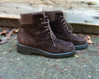 Chocolate Brown Suede Ankle Boots Joan and David Italian Boots Size 36