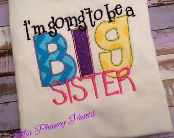 Promoted Big Sister Sis Applique Embridery Shirt Top Girls