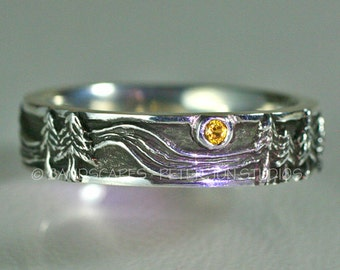 Sterling RIVER RUN with Yellow Sapphire, Wedding Band