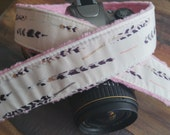 Padded Camera Strap - Grey and Purple Watercolor Feathers with Pink Minky - Retro Camera Strap for dSLR - Rose Gold Metallic Accent