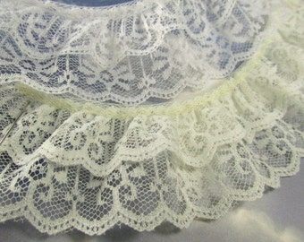 Ivory or White Double Layer Ruffled 2 Inch Lace Trim by the yard