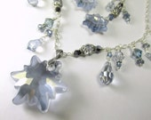 Custom Order - Final Payment for Swarovski Edelweiss Snowflake Asymetrical Necklace and Earring Set in Light Blue in all Sterling Silver