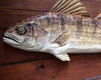 """Walleye 36"""" fish sculpture home decor hand made chainsaw carving art freshwater sport fishing lake lodge wooden wall mount home decor"""