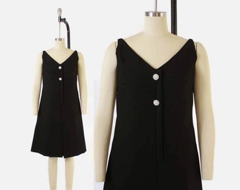 Vintage 60s Cocktail ROMPER / 1960s Suzy Perette Fit n Flare Black Evening Dress Jumpsuit M