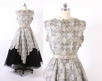 Vintage 50s Party DRESS / 1950s TRAINA-NORELL Black & White Silk Full Skirt Dress with Belt S