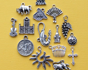 Spain Charm Collection Antique  Silver Tone 15 Charms - COL340