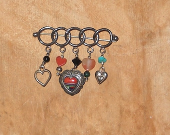 Sterling Silver Brooch / Lapel Pin with Hearts - FREE SHIPPING!