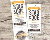 Banner Style Printed Stag & Doe Tickets with optional tear ticket