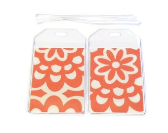 Luggage Tags Set of 2 Amy Butler Cherry Wallflowers