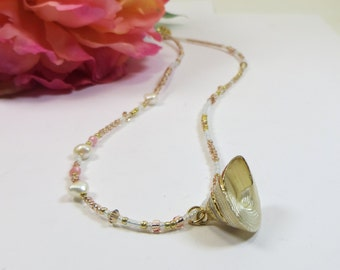 Delicate Shell Necklace; Gold Dipped Vintage Sea Shell Pendant w Seed Beads, Swarovski w Freshwater Pearls, Mermaid Gold White Necklace