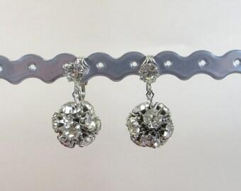 Rhinestone Crystal Ball Vintage Non Pierced Earrings - Fab Glittering Rhinestone Crystal Clip On Earrings, Wedding Prom Party Clip Earrings
