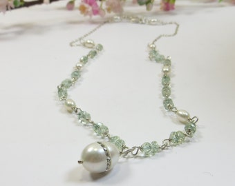 Aquamarine Pearl Necklace, Crystal Rhinestone Freshwater Pearl Necklace, Aquamarine Gemstones w Freshwater Pearl Necklace w Sterling Silver