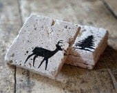 Woodland Drink Coasters - Set of Four / Natural Tumbled Marble / Handmade Custom Hand Painted / Rustic Cabin Home Decor
