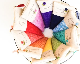 Rainbow Wedding Personalized Bridesmaid Clutches, Set of 8 Monogram Gifts for Bridesmaids, Rainbow Clutches MADE TO ORDER MamaBleuDesigns
