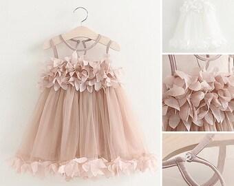 Pink Flower Girl Dress Toddler Baby Blush Marie Antoinette Romantic Ballerina Tulle Gown Frock Infant Cute Ballet Tutu Birthday Petal Dress