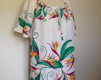 Vintage tropical bird paradise blouse, 80s Hawaiian blouse, 1980s tropical floral print top, beach swim coverup, XL oversized plus size