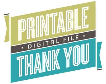 Printable Thank You Card, Digital Thank You Card File, Pera Press Printables // CHOICE OF DESIGN