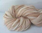 Handspun Chunky Yarn, Hand Dyed Thick and Thin Fine Merino Wool, Photo Prop, Baby Bump blanket, Slub Yarn Latte 60 yards