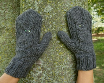 Grey Owl Mittens with Sequins - Adorable Grey Knit Mittens with Owls - Vegan Knitted Mittens - Gray Owl Mittens - Vegan Mittens