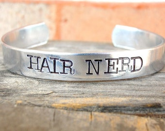 Hairstylist Gift - Hair Nerd - Gift For Hair Stylists - Custom Bracelet - Cosmetology Student - Cosmetologists