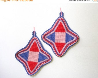 SALE Vintage Crocheted Pot Holders Red, Blue and Pink