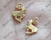2pcs 24K Gold filled Brass Charm deer Shape Pendant Findings,necklace Findings,Jewelry findings,bracelet findings,earrings findings