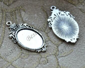 8 pcs Antique silver tone oval Cabochon pendant tray (Cabochon size 18x25mm),bezel charm findings,lacework findings,cabochon blank finding