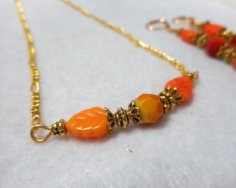 Fall Leaf Necklace Set, Autumn Leaves Necklace Earring Set, Autumn Color Jewelry, Fall Color Jewelry, Gold Orange Red, Earring Necklace Set