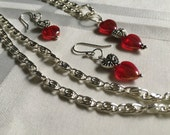 Red Hearts Valentines, Wedding Necklace and Earrings