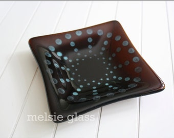Chocolate Spiral glass anything dish, transparent brown glass plate with turquoise dots