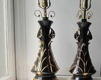 ON SALE Pair Vintage Black and Gold Ceramic Lamps with Calla Lilies - Working - No Chips - 1940's