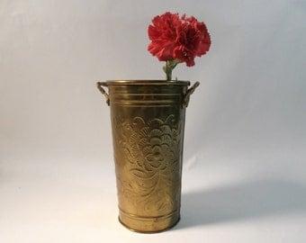 Brass Vase 1960s Hosley Copyright U.S.A. Solid Brass