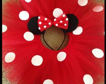 Beautiful Tutu in Red Minnie Mouse with Minnie Ears Headband