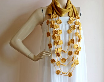 Mustard Infinity Scarf with Crochet Flowers -Circle Scarf /Loop Scarf/ Tube Scarf