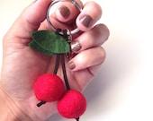 Cherry Keychain with Purse Charm - Handmade Felt - Gifts, Favors, Keyfob, Accessories, Birthdays, Baking Party, Purse/Bag Charm