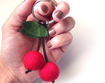 Cherry Keychain & Purse Charm - Handmade Felt/Leather - Gifts, Favors, Keyfob, Accessories, Birthdays, Baking Party, Purse/Bag Charm