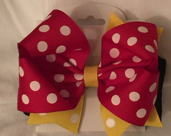 Minnie Mouse Boutique Bow - Red, Yellow and Black Minnie Mouse Bowtique Bow