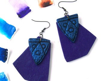 Geometric polymer clay earrings neon blue and purple statement earrings