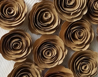 kraft paper spiral roses for scrapbooks, cards, weddings made from recycled paper bags