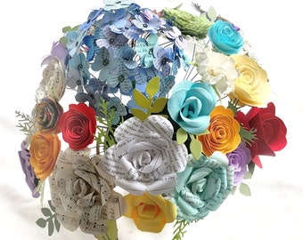 Mixed paper flower bouquet arrangement centerpiece book pages roses spirals fan folded hydrangeas carnation alternative bridal bridesmaid