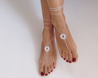 barefoot sandals,  bead, white barefoot sandles, wedding, Bikini, Bridal Sandals, Bridal Jewelry, shoes, Women, Beach, READY TO SHIP