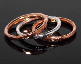 Hammered Fine Silver and Copper Three Stack Rings