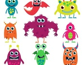 HALLOWEEN SALE Cute Monsters Clip Art Clipart Aliens Clip Art Clipart - Commercial and Personal