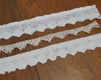 Vintage Crochet Pillowcase Edging Lot of 3