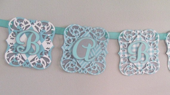 Baby Shower Banner, Robin's Egg Blue and Silver Shower Decoration, Baby Boy Banner