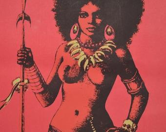1970s Black Light Poster Strong African American Women War Queen Black Power Hippie Poster